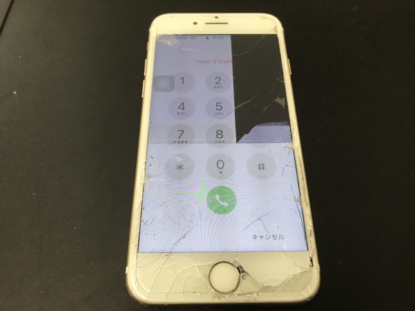 iPhone7を不注意で地面に落として液晶漏れが起きてしまった