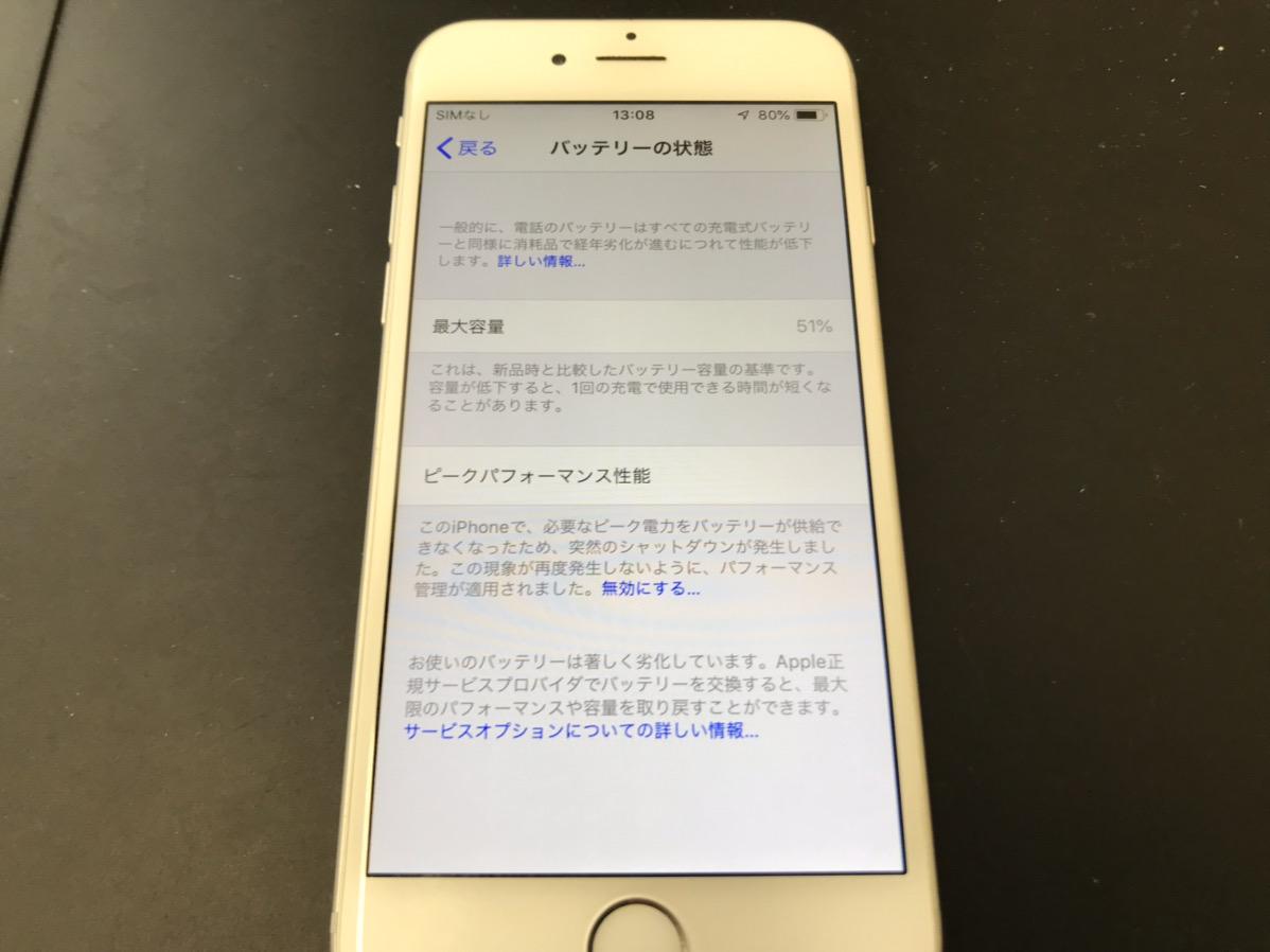 バッテリーが劣化したiPhone6