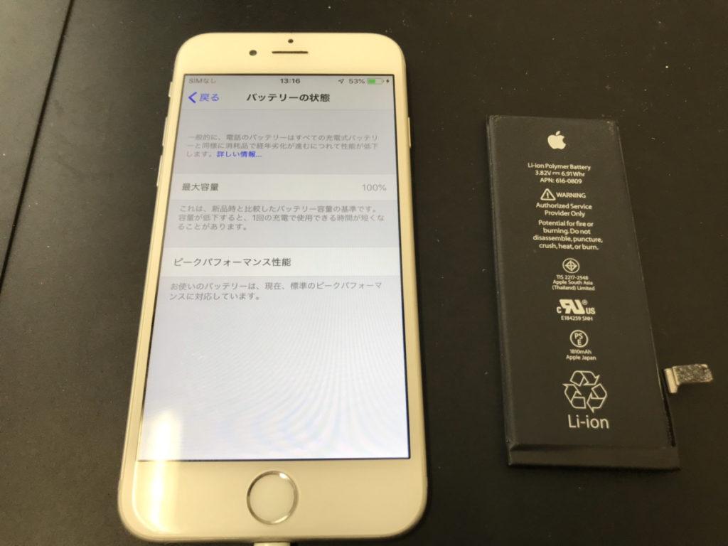 バッテリーを交換したiPhone6