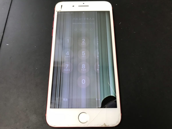 【伊勢崎市内】落下の衝撃で液晶が壊れたiPhone7Plus