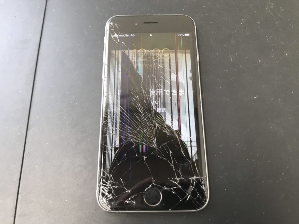 落下によって液晶が壊れたiPhone6s