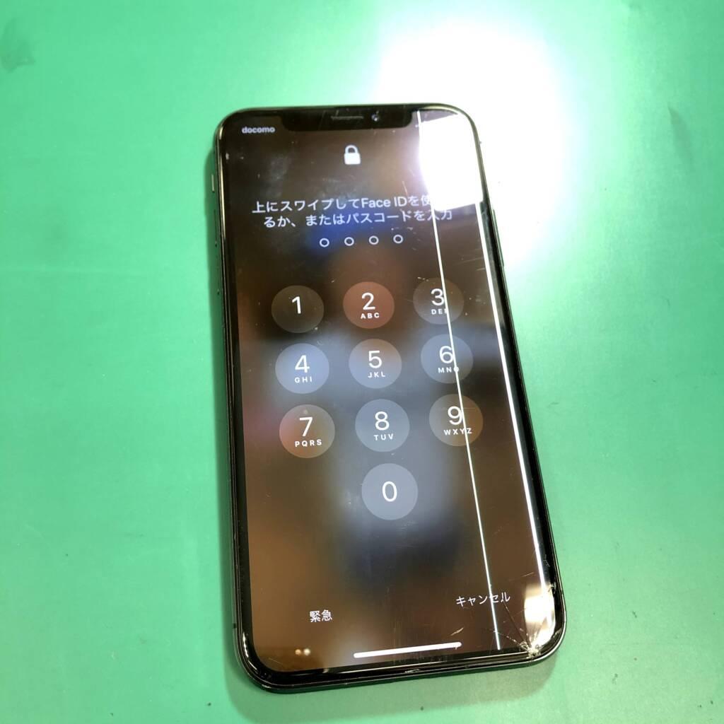 画面割れ、線がでているiPhoneX